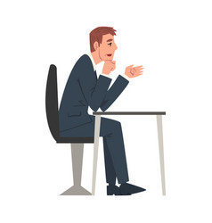 Businessman sitting at desk hr manager or boss vector