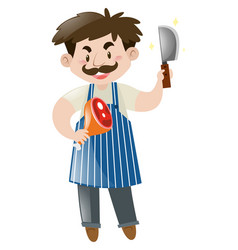 Butcher holding knife and meat vector