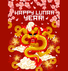 Chinese new year dragon and firework greeting card vector