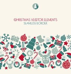 Christmas seamless border Christmas icons Retro vector image