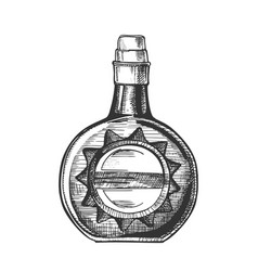 Circle whisky bottle with stylish cork cap vector