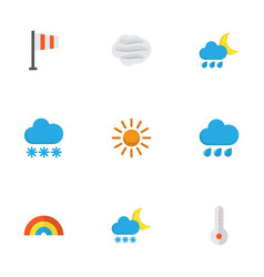 climate flat icons set collection of temperature vector image