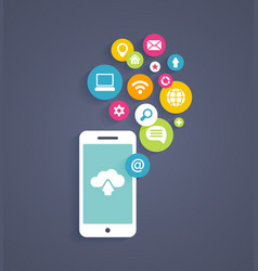 Cloud computing on a mobile phone vector