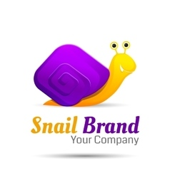 Colored stylized snail logo icon style vector image