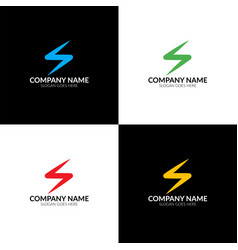 colorful lightning zipper spark logo vector image