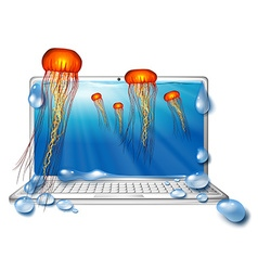 Computer screen with jellyfish underwater vector image