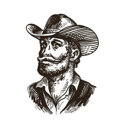 Cowboy rancher or farmer Hand drawn sketch vector