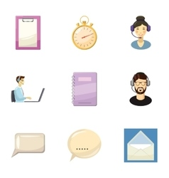 Customer support icons set cartoon style vector