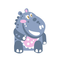 cute cartoon hippo character sitting on the floor vector image