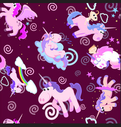 Cute unicorn seamless pattern magic pegasus vector