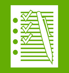 document with plan and pen icon green vector image