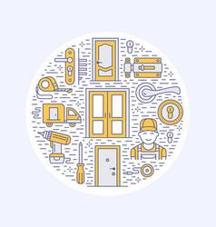 doors installation repair banner vector image