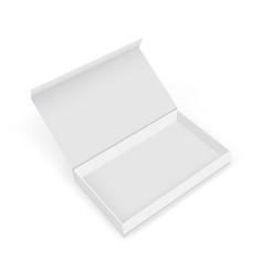 Empty cardboard rectangular gift box mockup vector