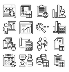 financial audit and business analytics icons set vector image