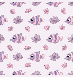 fish flower decorative seamless pattern vector image