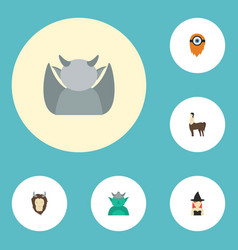 Flat icons magic lion fire and other vector