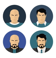 Flat male faces circle icons vector image
