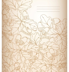 Floral background retro oak leaves and acorns vector