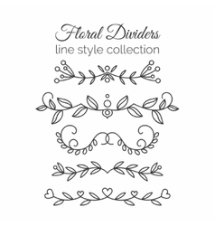 Flourishes Hand drawn dividers set Line style vector image