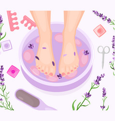 Foot bath pedicure flat vector