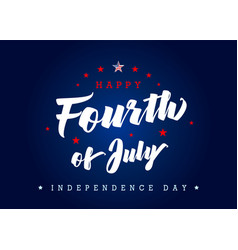 Fourth july usa lettering poster blue vector
