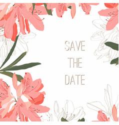 frame with orange oleander rhododendron vector image