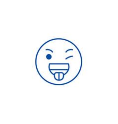 funny emoji line icon concept funny emoji flat vector image