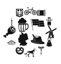germany icons set simple style vector image