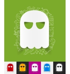 ghost paper sticker with hand drawn elements vector image