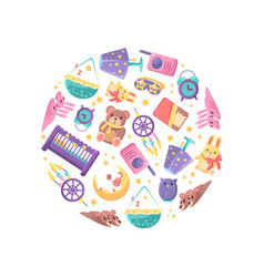 goods for babies in circular shape baby shop vector image