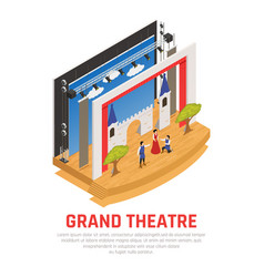 Grand theatre isometric background vector