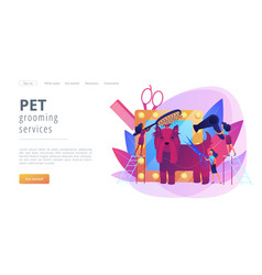 grooming salon concept landing page vector image