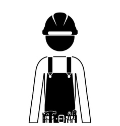Half body silhouette man worker with toolkit vector
