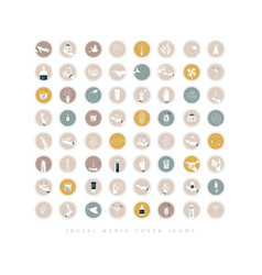 Hands and cosmetics social media cover icons beige vector