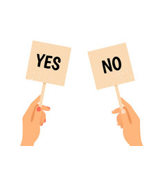 Hands holding yes no banners vector