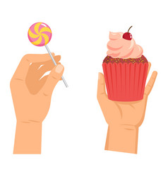 hands offers sweetness with cake arm vector image