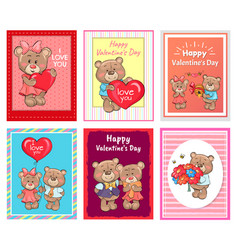 i love you happy valentines day set of poster bear vector image