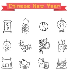 Icon of Chinese object collection vector