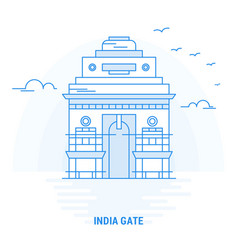 india gate blue landmark creative background and vector image