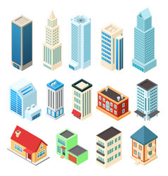 Isometric buildings set isolated on white office vector