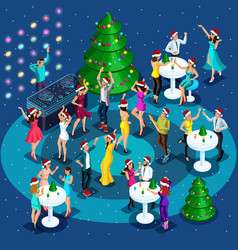 Isometrics celebration of christmas new year vector