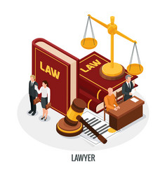Lawyer books isometric composition vector