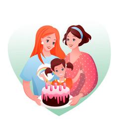 lesbian family celebration vector image