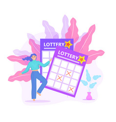 lottery ticket woman playing lotto win icon flat vector image