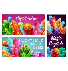 magic crystals and gems gemstones banners vector image