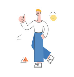 man with notebook showing thumbs up vector image