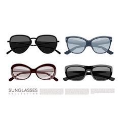 modern fashionable stylish sunglasses set vector image