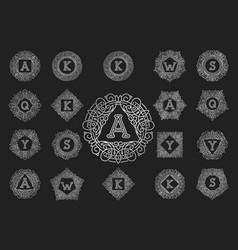 monogram bage logo text letter vector image