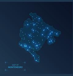 Montenegro map with cities luminous dots - neon vector