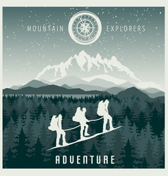 mountain explorers poster vector image